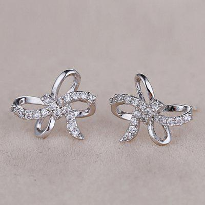 Pair of Chic Bow Shape Zircon Earrings For Women