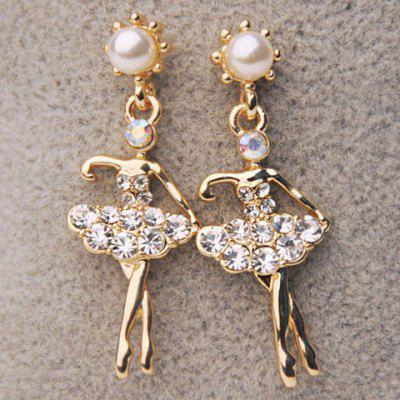 Pair of Cute Rhinestone Embellished Dancing Girl Shape Drop Earrings For Women