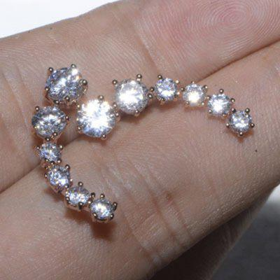 Pair of Luxury Rhinestoned Meteor Shower Stud Earrings For Women