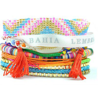 Bohemian Magnet Clasp Layered Beaded Tassels Bracelet For Women