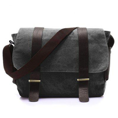 Gearbest Stylish Style Splice and Canvas Design Men's Messenger Bag