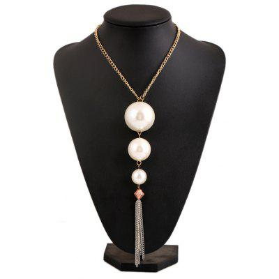 Fashion Faux Pearl Tassel Necklace For Women