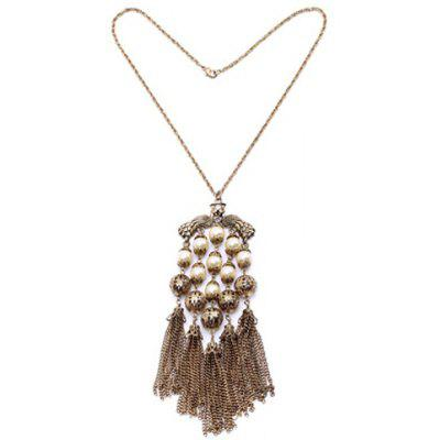 Chic Faux Pearl Tassel Pendant Necklace For Women
