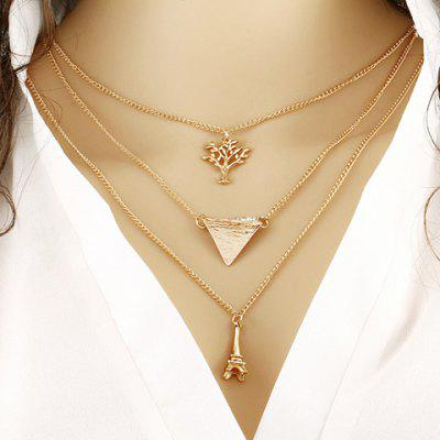 Triangle Life Tree Tower Pendant Necklace