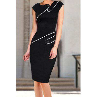 Stylish Jewel Neck Cap Sleeve Buttoned Bodycon Dress For Women