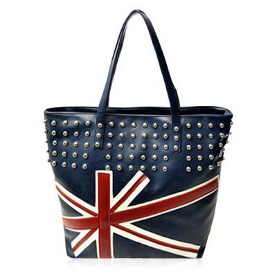 Punk Style Rivets and Union Jack Design Women's Shoulder Bag