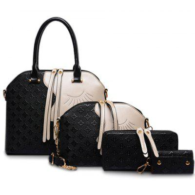 Color Block Metallic Handbag Set