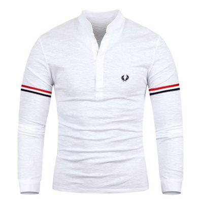 Fashion Stand Collar Embroidered Stripe Splicing Slimming Long Sleeve Polyester T-Shirt For Men