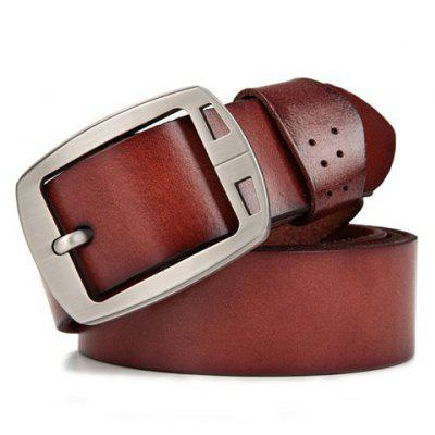 Stylish Hollow Out Metal Pin Buckle Solid Color Belt For Men