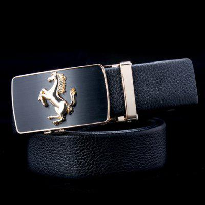 Stylish Running Horse Shape Alloy Embellished Buckle Belt For Men
