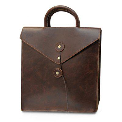 Retro Solid Color and PU Leather Design Men's Backpack