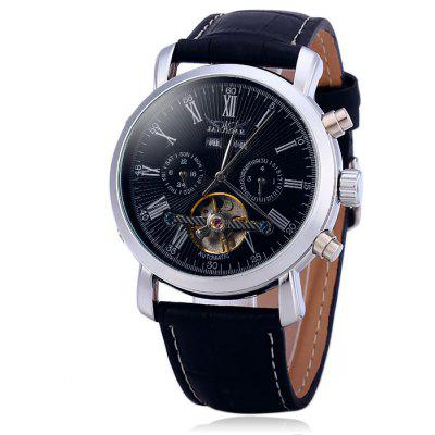 Jaragar A540 Male Tourbillon Automatic Mechanical Watch with Genuine Leather Band