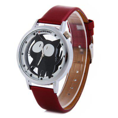 Shiweibao A7741 Cat Pattern Transparent Dial Female Quartz Watch