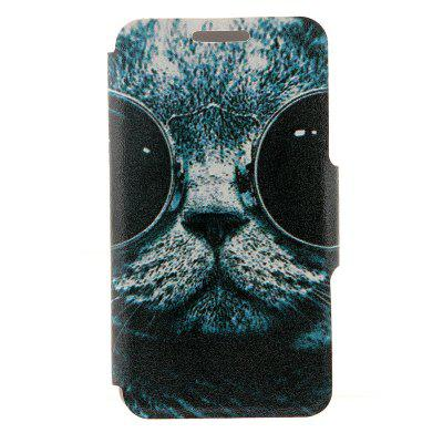 Kinston Card Holder PU Leather Phone Cover Case with Sunglass Cat Design for Huawei Ascend P7