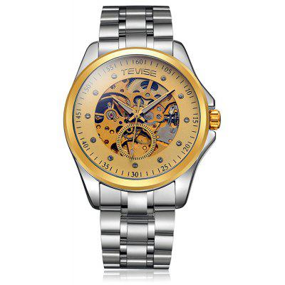 Tevise Diamond Male Automatic Mechanical Watch with Stainless Steel Band