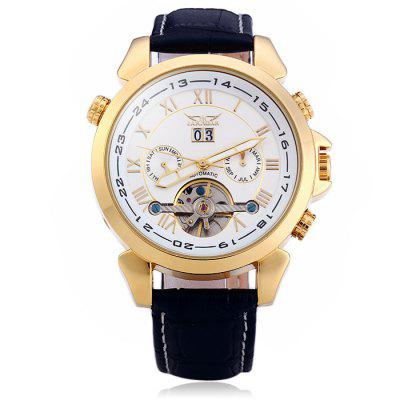 Jaragar H057M Genuine Leather Band Men Automatic Mechanical WatchMens Watches<br>Jaragar H057M Genuine Leather Band Men Automatic Mechanical Watch<br><br>Available Color: Black<br>Band material: Genuine Leather<br>Brand: Jaragar<br>Case material: Stainless Steel<br>Clasp type: Pin buckle<br>Display type: Analog<br>Movement type: Automatic mechanical watch<br>Package Contents: 1 x Jaragar H057M Automatic Mechanical Watch<br>Package size (L x W x H): 26.80 x 5.40 x 2.40 cm / 10.55 x 2.13 x 0.94 inches<br>Package weight: 0.1340 kg<br>Product size (L x W x H): 25.80 x 4.40 x 1.40 cm / 10.16 x 1.73 x 0.55 inches<br>Product weight: 0.0840 kg<br>Shape of the dial: Round<br>Special features: Month, Working small two stitches, Tourbillon, Day, Date<br>The band width: 1.8 cm / 0.71 inches<br>The dial diameter: 4.4 cm / 1.73 inches<br>The dial thickness: 1.4 cm / 0.55 inches<br>Watch style: Business<br>Watches categories: Male table<br>Wearable length: 19.2 - 23.5 cm / 7.56 - 9.25 inches