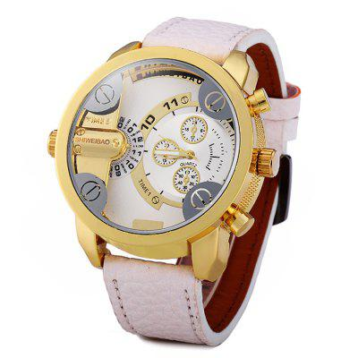Shiweibao A3132 Dual Time Male Quartz Watch with Decorative Sub-dials Leather Band