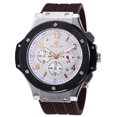 MEGIR 3002 Date Function Water Resistant Male Japan Quartz Watch with Silicone Band