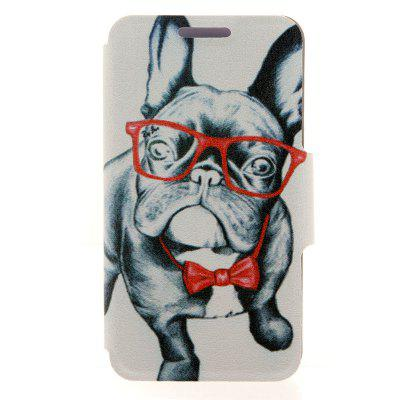 Glass DogPattern Cover Case PU and TPU with Stand for iPhone 6 - 4.7 inch
