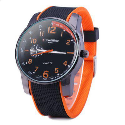 Shiweibao A1453 Contrast Color Rubber Strap Unisex Quartz Watch