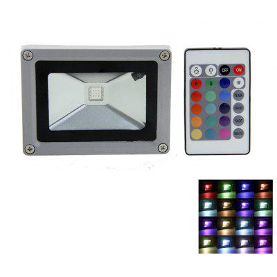 10W AC 85 - 265V 1000LM IP65 RGB LED Flood Lamp + Remote Controller