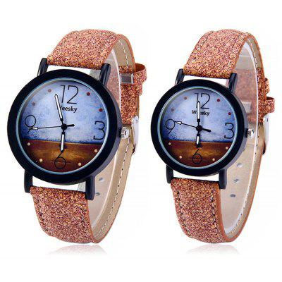 Weesky Leather Strap Quartz Watch for Couple