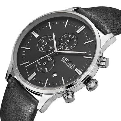 MEGIR 2011 Water Resistance Male Japan Quartz Watch with Date Function Genuine Leather BandMens Watches<br>MEGIR 2011 Water Resistance Male Japan Quartz Watch with Date Function Genuine Leather Band<br><br>Band material: Genuine Leather<br>Brand: MEGIR<br>Case material: Alloy<br>Clasp type: Pin buckle<br>Display type: Analog<br>Movement type: Quartz watch<br>Package Contents: 1 x MEGIR 2011 Watch<br>Package size (L x W x H): 27.00 x 4.90 x 2.00 cm / 10.63 x 1.93 x 0.79 inches<br>Package weight: 0.0930 kg<br>Product size (L x W x H): 26.00 x 3.90 x 1.00 cm / 10.24 x 1.54 x 0.39 inches<br>Shape of the dial: Round<br>Special features: Date, Moving small three stitches<br>The dial diameter: 3.9 cm / 1.53 inches<br>The dial thickness: 1.0 cm / 0.39 inches<br>Watch style: Business<br>Watches categories: Male table<br>Water resistance: 30 meters