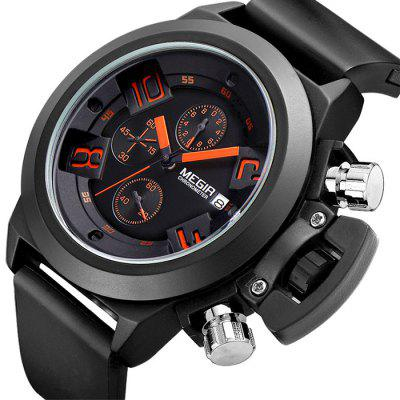 MEGIR 2002 Male Quartz WatchMens Watches<br>MEGIR 2002 Male Quartz Watch<br><br>Available Color: Black,White<br>Band material: Silicone<br>Brand: MEGIR<br>Case material: Alloy<br>Clasp type: Pin buckle<br>Display type: Analog<br>Movement type: Quartz watch<br>Package Contents: 1 x MEGIR 2002 Watch<br>Package size (L x W x H): 26.00 x 4.70 x 2.50 cm / 10.24 x 1.85 x 0.98 inches<br>Package weight: 0.1700 kg<br>Product size (L x W x H): 25.00 x 3.70 x 1.50 cm / 9.84 x 1.46 x 0.59 inches<br>Product weight: 0.1200 kg<br>Shape of the dial: Round<br>Special features: Date, Moving small three stitches<br>The dial diameter: 3.7 cm / 1.45 inches<br>The dial thickness: 1.5 cm / 0.59 inches<br>Watch style: Business<br>Watches categories: Male table<br>Water resistance: 30 meters