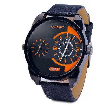 Gearbest Cagarny 6813 Leather Band Male Dual Movt Japan Quartz Watch