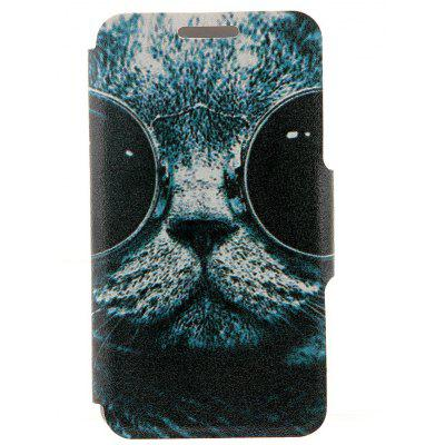 Sunglass Cat Pattern Cover Case with Stand and Card Slot for Motorola moto E