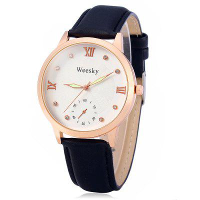 Weesky Female Quartz WatchWomens Watches<br>Weesky Female Quartz Watch<br><br>Available Color: Brown,Red,White,Black<br>Band material: Leather<br>Brand: Weesky<br>Case material: Alloy<br>Clasp type: Pin buckle<br>Display type: Analog<br>Movement type: Quartz watch<br>Package Contents: 1 x Weesky Watch<br>Package size (L x W x H): 26 x 5 x 2 cm / 10.22 x 1.97 x 0.79 inches<br>Package weight: 0.088 kg<br>Product size (L x W x H): 25 x 4 x 1 cm / 9.83 x 1.57 x 0.39 inches<br>Product weight: 0.038 kg<br>Shape of the dial: Round<br>Special features: Decorating small sub-dials<br>Style: Fashion&amp;Casual<br>The band width: 2.0 cm / 0.79 inches<br>The dial diameter: 4.0 cm / 1.57 inches<br>The dial thickness: 1.0 cm / 0.39 inches<br>Watches categories: Female table<br>Wearable length: 19 - 23 cm / 7.48 - 9.06 inches