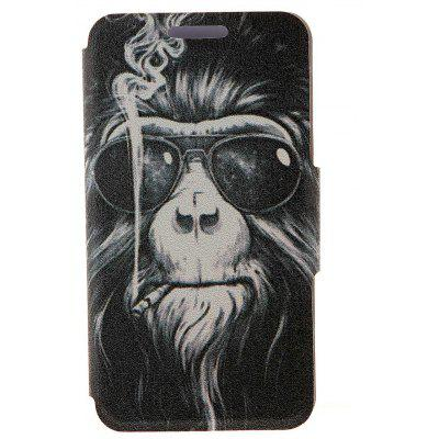 Kinston Smoking Monkey patroon PU lederen full body cover met standaard voor iPhone 6 - 4.7 inch