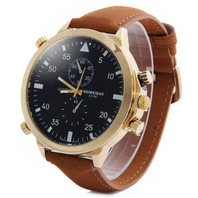 Shiweibao A1104 Nubuck Leather Band Male Quartz Watch with Decorative Sub-dials Big DialMens Watches<br>Shiweibao A1104 Nubuck Leather Band Male Quartz Watch with Decorative Sub-dials Big Dial<br><br>Available Color: Black,White,Red,Blue<br>Band material: Leather<br>Brand: Shiweibao<br>Case material: Stainless Steel<br>Clasp type: Pin buckle<br>Display type: Analog<br>Movement type: Quartz watch<br>Package Contents: 1 x Shiweibao A1104 Watch<br>Package size (L x W x H): 28.5 x 7 x 2.2 cm / 11.20 x 2.75 x 0.86 inches<br>Package weight: 0.17 kg<br>Product size (L x W x H): 27.5 x 6 x 1.2 cm / 10.81 x 2.36 x 0.47 inches<br>Product weight: 0.080 kg<br>Shape of the dial: Round<br>Special features: Decorating small sub-dials<br>The band width: 2.2 cm / 0.87 inches<br>The dial diameter: 6.0 cm / 2.36 inches<br>The dial thickness: 1.2 cm / 0.47 inches<br>Watch style: Fashion<br>Watches categories: Male table<br>Wearable length: 21 - 25 cm / 8.27 - 9.84 inches