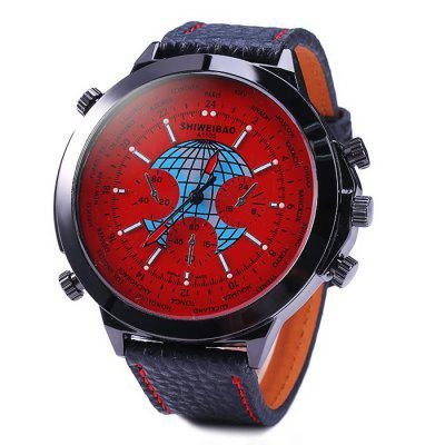 Shiweibao A1105 Big Dial Male Quartz Watch with Globe Pattern Leather BandMens Watches<br>Shiweibao A1105 Big Dial Male Quartz Watch with Globe Pattern Leather Band<br><br>Available Color: Deep Blue,Red,White,Black<br>Band material: Leather<br>Brand: Shiweibao<br>Case material: Stainless Steel<br>Clasp type: Pin buckle<br>Display type: Analog<br>Movement type: Quartz watch<br>Package Contents: 1 x Shiweibao A1105 Watch<br>Package size (L x W x H): 28.5 x 7 x 2.2 cm / 11.20 x 2.75 x 0.86 inches<br>Package weight: 0.131 kg<br>Product size (L x W x H): 27.5 x 6 x 1.2 cm / 10.81 x 2.36 x 0.47 inches<br>Product weight: 0.081 kg<br>Shape of the dial: Round<br>Special features: Decorating small sub-dials<br>The band width: 2.2 cm / 0.87 inches<br>The dial diameter: 6.0 cm / 2.36 inches<br>The dial thickness: 1.2 cm / 0.47 inches<br>Watch style: Fashion<br>Watches categories: Male table<br>Wearable length: 21 - 25 cm / 8.27 - 9.84 inches