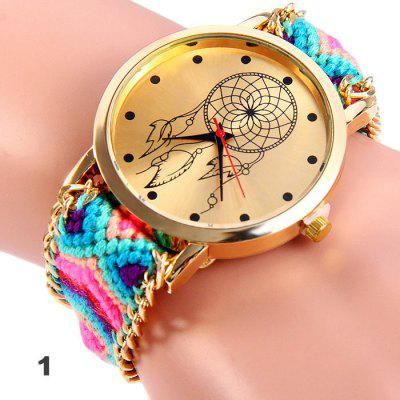 Woven Woolen Female Quartz Watch Pull Cord BraceletWomens Watches<br>Woven Woolen Female Quartz Watch Pull Cord Bracelet<br><br>Band material: Woolen<br>Case material: Stainless Steel<br>Clasp type: No Clasp<br>Display type: Analog<br>Movement type: Quartz watch<br>Package Contents: 1 x Woven Woolen Watch<br>Package size (L x W x H): 8.00 x 5.00 x 2.00 cm / 3.15 x 1.97 x 0.79 inches<br>Package weight: 0.078 kg<br>Product size (L x W x H): 30.00 x 4.00 x 1.00 cm / 11.81 x 1.57 x 0.39 inches<br>Product weight: 0.028 kg<br>Shape of the dial: Round<br>Style: Retro, Fashion&amp;Casual<br>The dial diameter: 4.0 cm / 1.57 inches<br>The dial thickness: 1.0 cm / 0.39 inches<br>Watches categories: Female table<br>Wearable length: 14 - 28 cm / 5.91 - 11.0 inches