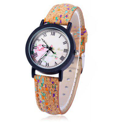 Weesky Retro Female Quartz Watch with Flower Dial Leather Strap