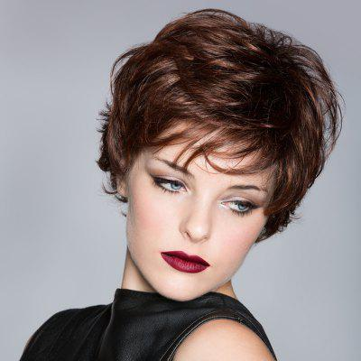 Buy DEEP BROWN Towheaded Deep Brown Stylish Spiffy Ultrashort Wavy Capless Side Bang Synthetic Wig For Women for $13.62 in GearBest store