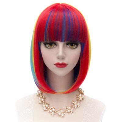 Vogue Full Bang Medium Straight Synthetic Charming Offbeat Rainbow Capless Wig For Women 136423401