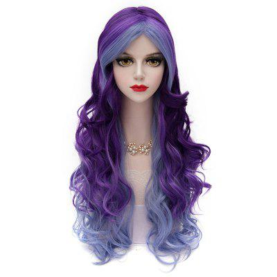 Two-Tone Gradient Fluffy Long Middle Part Trendy Wave Synthetic Lolita Capless Cosplay Wig