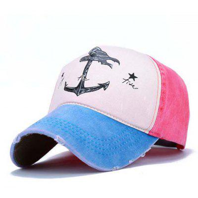 Chic Broken Hole Embellished Boat Anchor Stars Pattern Color Splice Visor For Women