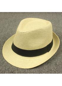 Stylish Black Ribbon Embellished Flanging Straw Hat For Men