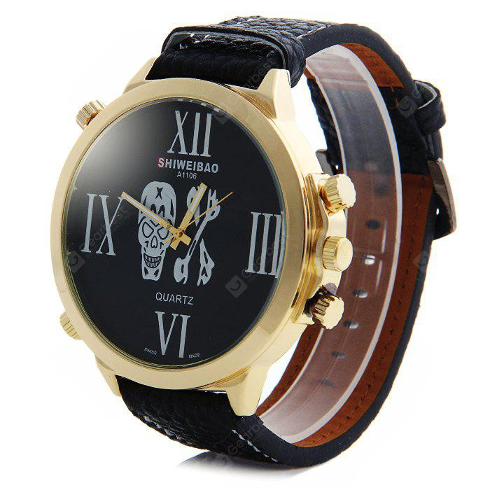 Shiweibao A1106 Big Dial Skull Pattern Male Quartz Watch Embossed Leather Strap GOLD AND BLACK