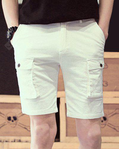 Slimming Stylish Solid Color Multi-Pocket Straight Leg Men's Thicken Cotton Blend Shorts XL WHITE