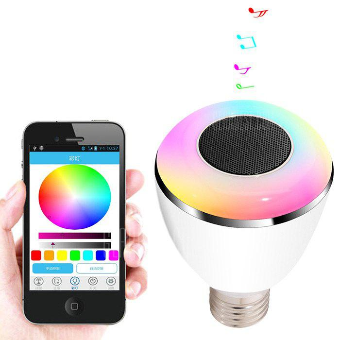 Gearbest BL08A Smart Bluetooth 4.0 Music Speaker Lamp LED Bulb E27 Intelligent Light Holiday Party Decoration Gift - WHITE