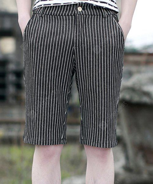 Slimming Casual Straight Leg Pocket Embellished Zipper Fly Men's Classic Striped Shorts L BLACK