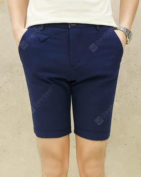 Slimming Fashion Candy Color Pocket Design Narrow Feet Men's Cotton Blend Shorts 31 DEEP BLUE