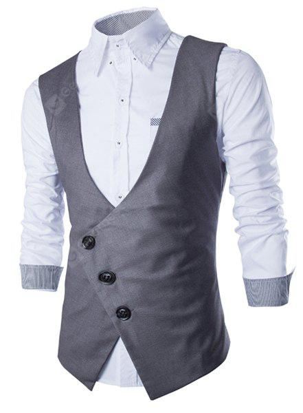 Stylish V-Neck Solid Color Oblique Placket Slimming Sleeveless Cotton Blend Waistcoat For Men