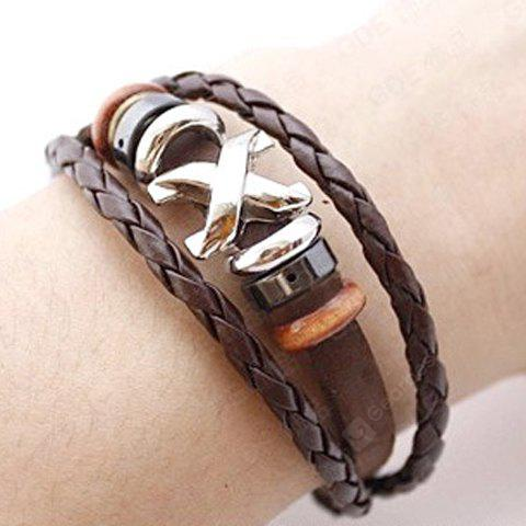 Criss Cross Layered Faux Leather Bracelet
