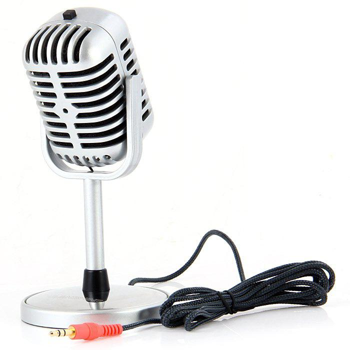 NW - 058 Professional Omnidirectional 3.5mm Dual Track Microphone for Desk PC and Notebook with Recording Function - Silver