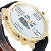 Shiweibao A1106 Big Dial Skull Pattern Male Quartz Watch with Embossed Leather Strap - GOLD AND BLACK
